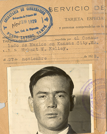 Hubert Williams Kelley, Mexican Visa, 1929